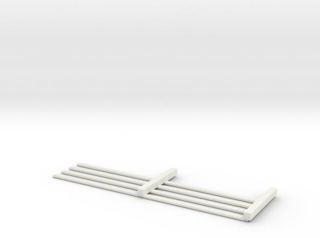 HO Scale 4 rail Fence MK.1 in White Natural Versatile Plastic