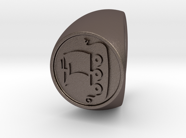 Custom Signet Ring 56 size 14.5 in Polished Bronzed Silver Steel