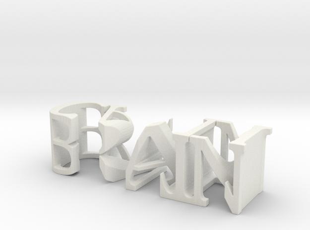 3dWordFlip: BRAIN/CANDI in White Natural Versatile Plastic
