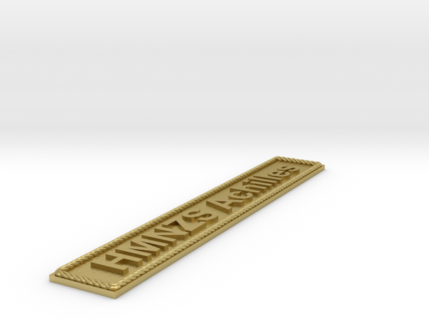 Nameplate HMNZS Achilles in Natural Brass