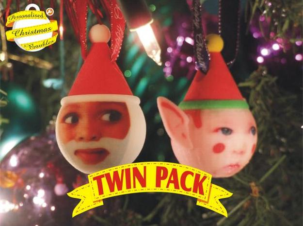FatherChris & Elf baubles twin pack (personalised) in Full Color Sandstone