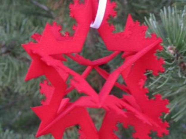 Koch Fractal Ornament in White Natural Versatile Plastic