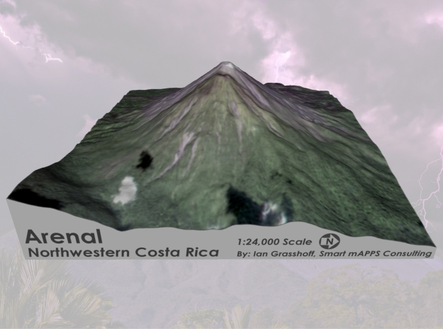 "Arenal Volcano, Costa Rica: 6"" in Coated Full Color Sandstone"