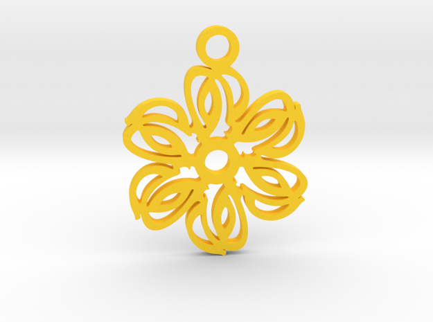 Exotic flower. Pendant in Yellow Processed Versatile Plastic