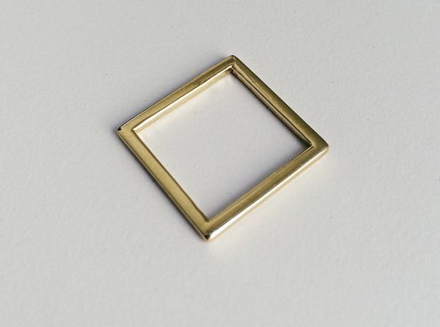 Square Ring in Polished Brass