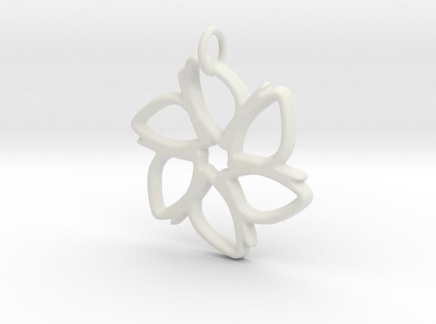 Six-Petaled Flower Pendant in White Natural Versatile Plastic