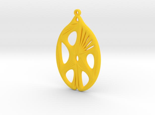 Voronoi Catenoid Curve Earring (001b) in Yellow Processed Versatile Plastic