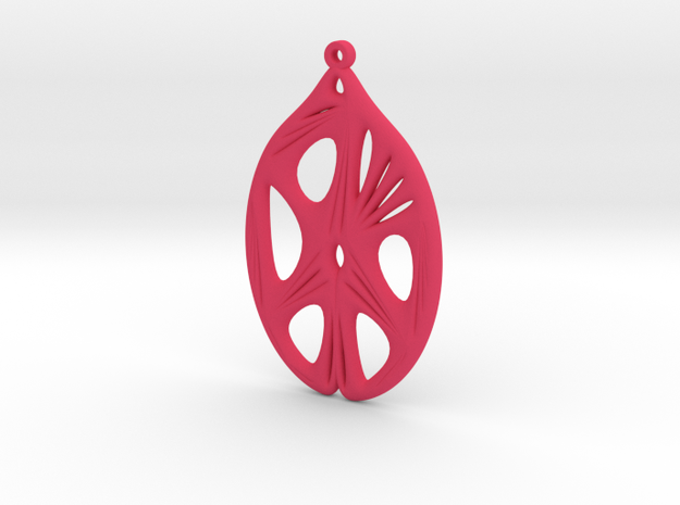 Voronoi Catenoid Curve Earring (001a) in Pink Processed Versatile Plastic