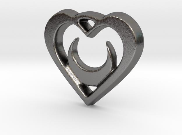 Crescent Moon Heart - 25mm Pendant in Polished Nickel Steel