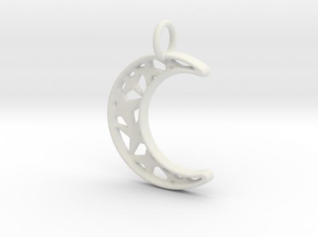 Glistening Moon 30mm Pendant in White Natural Versatile Plastic
