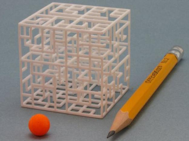 Escher's Playground 3D Maze Cube 3d printed Pencil for scale