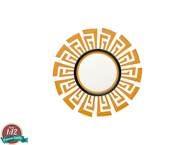 Miniature Cleopatra Mirror - Cyan Design in White Natural Versatile Plastic: 1:12