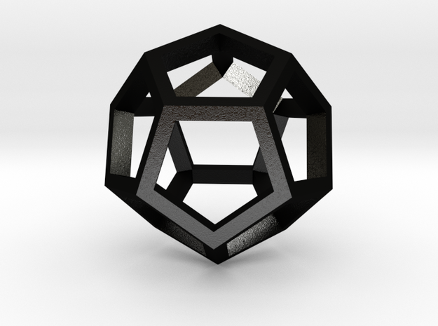 Regular Dodecahedron Mesh in Matte Black Steel