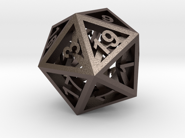 Open Air D20 in Polished Bronzed Silver Steel
