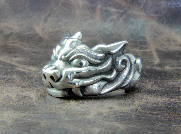 "Fu Dog (Komainu) ""um"" Ring in Polished Silver: 10 / 61.5"