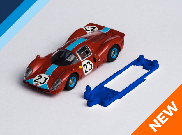 1/32 Scalextric Ferrari P4 Chassis for Slot.it IL in Blue Processed Versatile Plastic