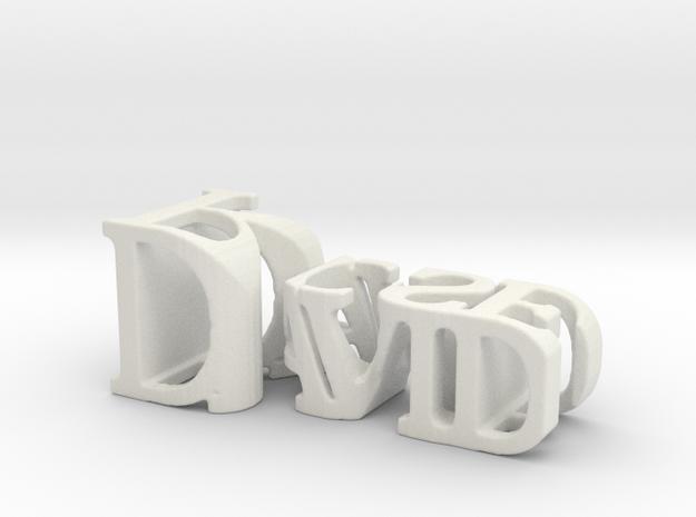 3dWordFlip: David/Rose in White Natural Versatile Plastic