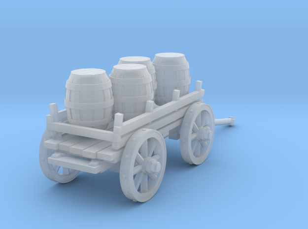 4-wheeled cart with barrrels in Smooth Fine Detail Plastic