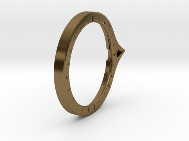 Theta - Protractor Ring: Retaining Disc in Polished Bronze