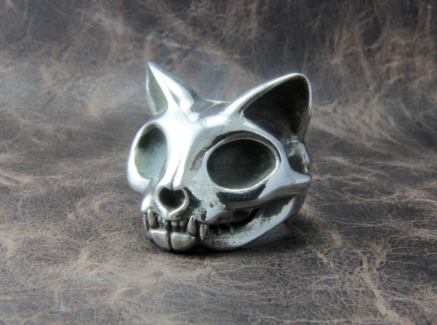 Cat Skull Ring in Polished Silver: 10 / 61.5