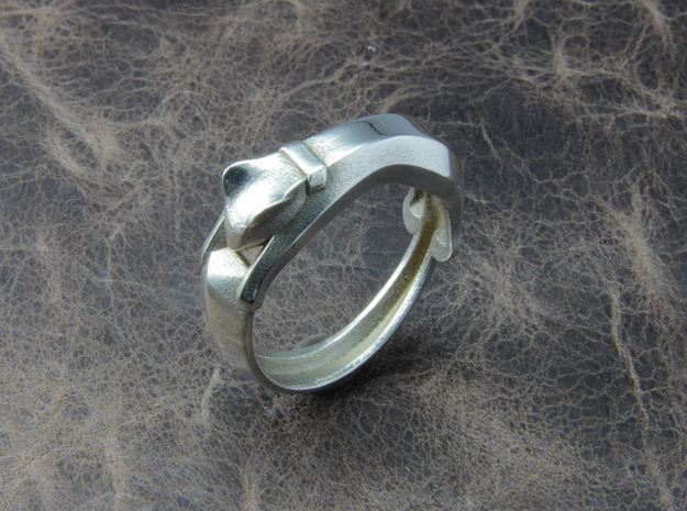 Cat Ring in Polished Silver: 6 / 51.5