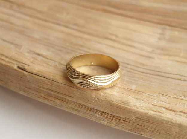 Ebb and Flow Ring No. 8  - Ripple, Size 7 in Natural Brass