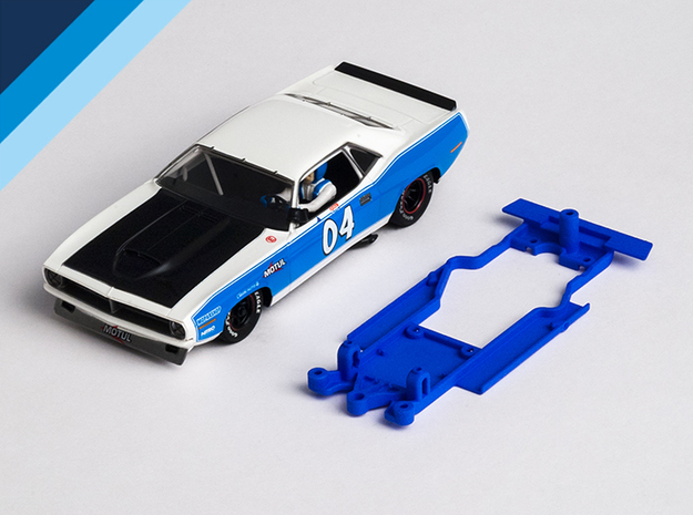 1/32 SCX Plymouth 'Cuda Chassis for Slot.it AW pod in White Natural Versatile Plastic