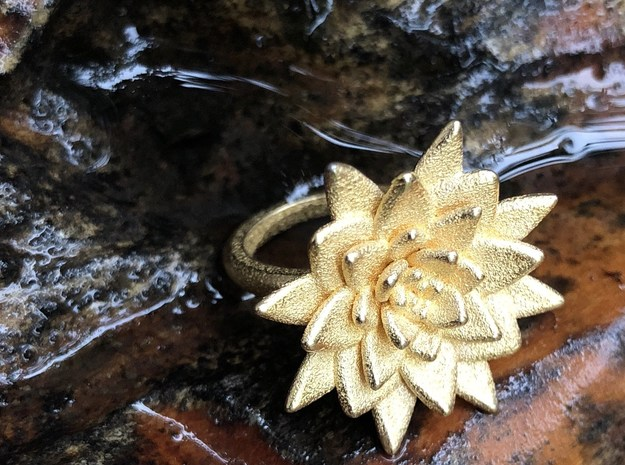 Succulent Blossom in Polished Gold Steel
