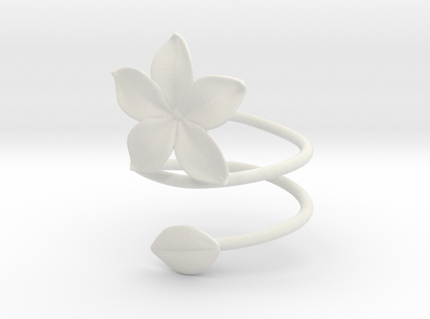Bracelet Flower in White Natural Versatile Plastic