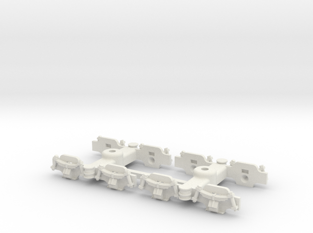 Oe Decauville 60 cm coach bogies in White Strong & Flexible