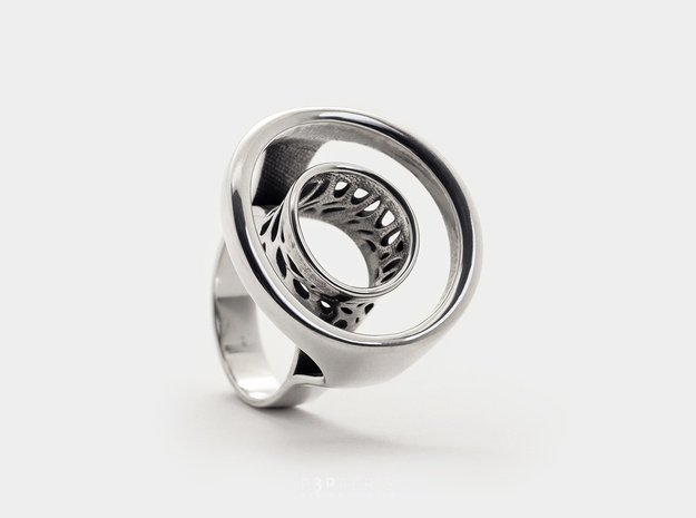 Open Circle Ring . Voronoi - Karma Ring in Polished Silver: 6 / 51.5