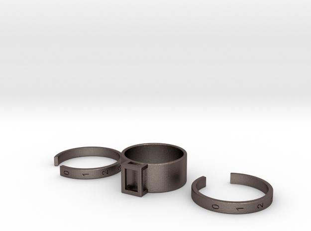 LOCK Calendar Ring in Polished Bronzed Silver Steel