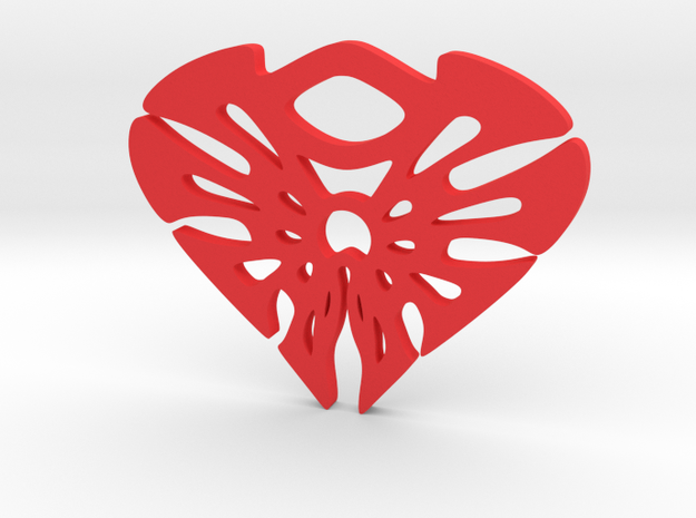 """Splatter heart"" Pendant in Red Processed Versatile Plastic"
