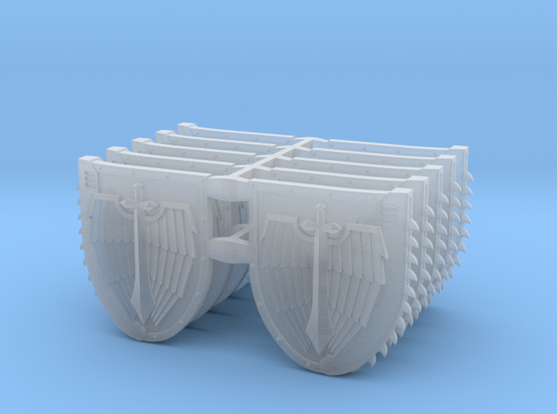 Mixed Chainshields (Winged Sword design) in Smooth Fine Detail Plastic: Large