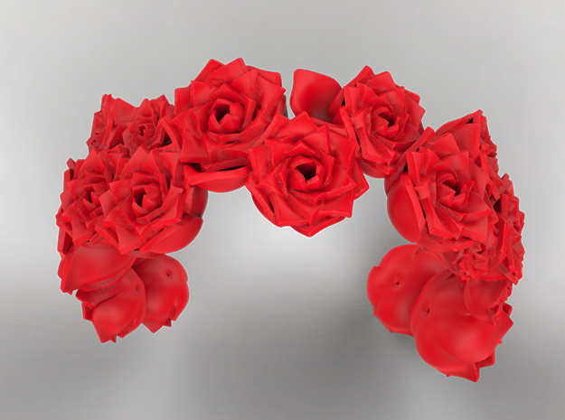 Rose Bracelet 01 in Red Processed Versatile Plastic