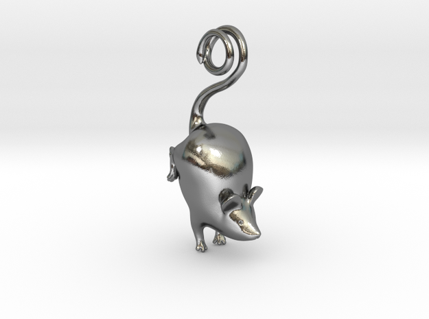 Mouse Pendant in Polished Silver