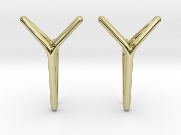 YOUNIVERSAL One Earrings in 18k Gold Plated Brass: Small