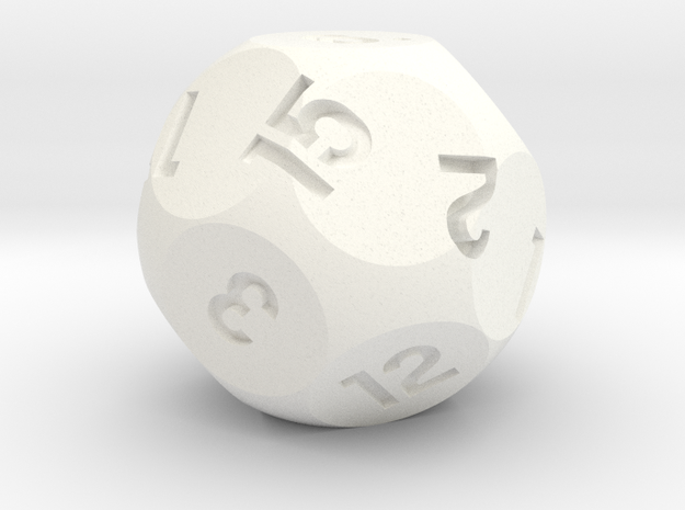 d15 Sphere Dice in White Processed Versatile Plastic