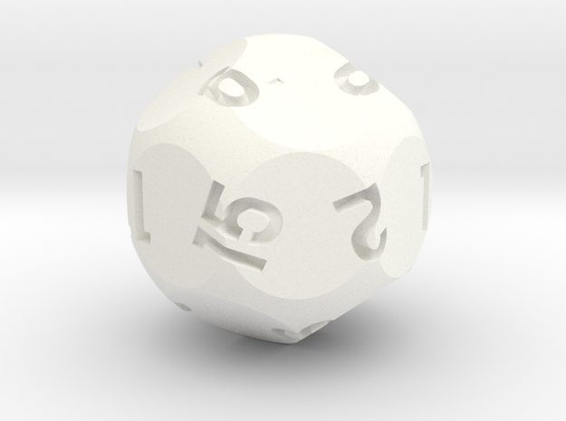 d15 Sphere Dice Alt in White Processed Versatile Plastic