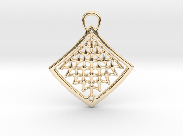 Organic Structure Pendant in 14k Gold Plated Brass