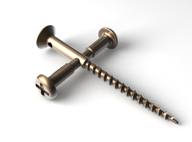 Screw Cross in Polished Bronze