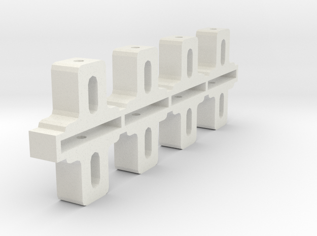Front Adjustable Axle blocks in White Natural Versatile Plastic