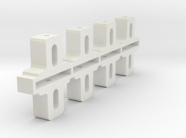 Front Adjustable Axle blocks in White Natural Versatile Plastic