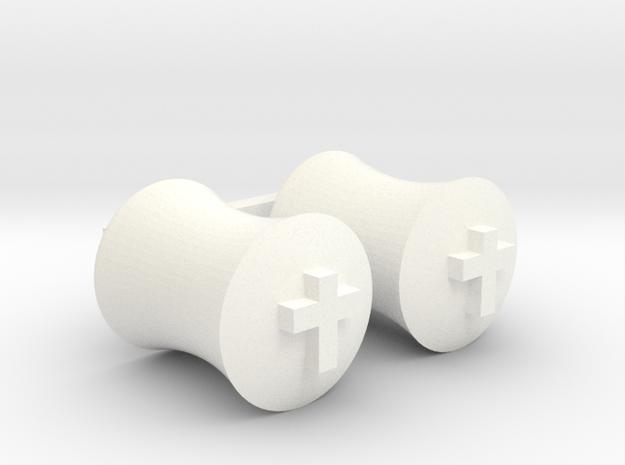 "Ear Gage - 7/16"" Pair in White Processed Versatile Plastic"