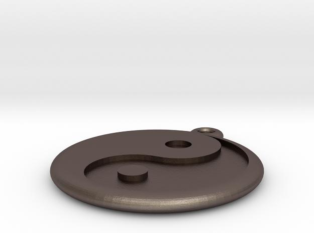 Yin Yang Keychain in Polished Bronzed Silver Steel