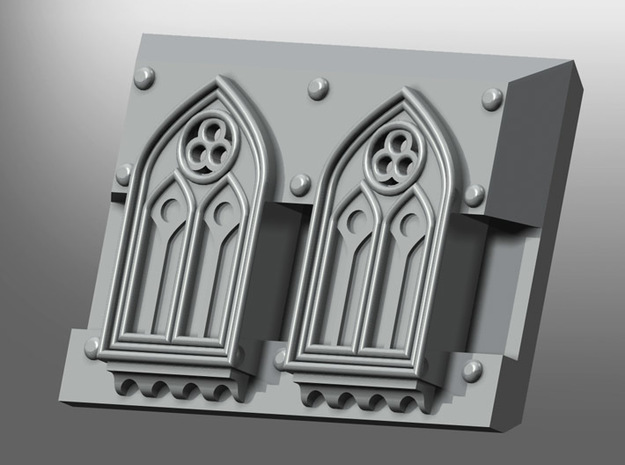 """Rhinoceros mk1 """"Gothic-pattern"""" Frontal Plate in White Processed Versatile Plastic: Small"""