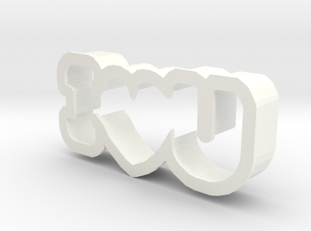 I Love You cookie cutter in White Processed Versatile Plastic