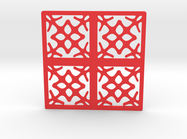 Cup coaster - pattern I in Red Processed Versatile Plastic