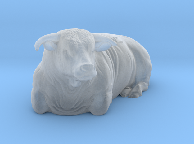 1/87 Lying Hereford Bull Left Turn in Frosted Ultra Detail