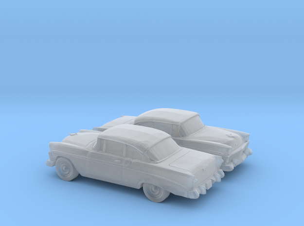 1-160 2X 1956 Chevrolet Bel Air Coupe in Smooth Fine Detail Plastic